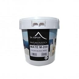 Pintura plástica M-200 MATE BLANCO NIEVE. Adecuada para la protección y decoración de paramentos interiores y exteriores.